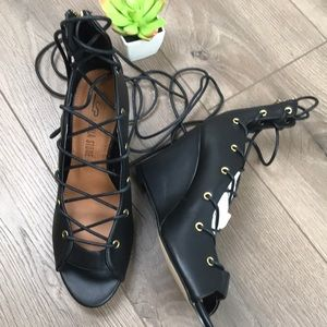 LEILA STONE Susane Sexy Lace Up Black Wedge Heels